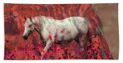 Cowgirl And Her Horses Beach Towel by Toma Caul