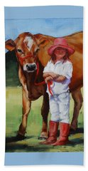 Beach Towel featuring the painting Cowgirl Besties by Margaret Stockdale