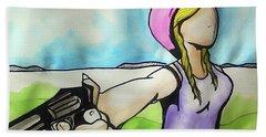 Cowgirl With Gun Beach Sheet