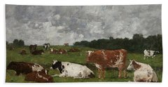 Cows At The Pasture Beach Towel by Eugene Louis Boudin