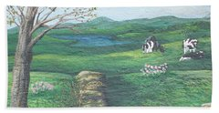 Cows In Field Beach Towel