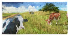 Cows In Field, Ver 2 Beach Towel