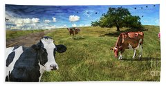 Cows In Field, Ver 3 Beach Sheet