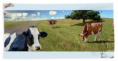 Cows In Field, Ver 4 Beach Towel