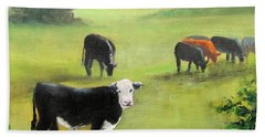 Cows In Pasture Beach Sheet