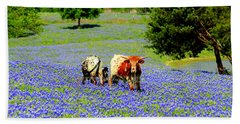 Beach Towel featuring the photograph Cows In Texas Bluebonnets by Kathy White