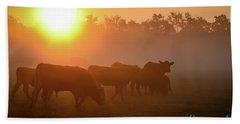Cows In The Sunrise Mist Beach Towel