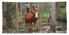 Cows In The Woods Beach Sheet by Joshua Martin