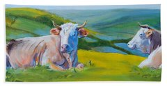 Cows Lying Down In Devon Hills Beach Towel