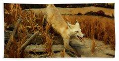 Beach Towel featuring the digital art Coyote  by Chris Flees