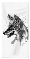 Beach Towel featuring the mixed media Coyote Head Black And White by Marian Voicu