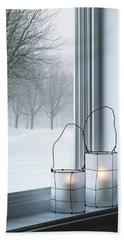Cozy Lanterns And Winter Landscape Seen Through The Window Beach Towel