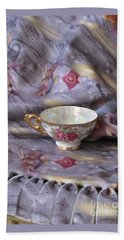 Beach Towel featuring the photograph Cozy Time With Tea And Fleece Blanket by Nancy Lee Moran
