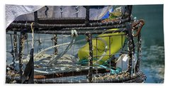 Crab Pots Waiting For Low Tide Beach Sheet by Debra Baldwin