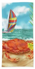 Crab With Cocktail Umbrella Beach Towel