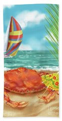 Crab With Cocktail Umbrella Beach Sheet