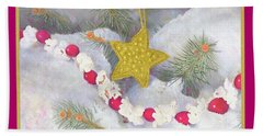 Beach Towel featuring the painting Cranberry Garland With Gold Christmas Star by Nancy Lee Moran