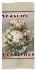 Beach Towel featuring the painting Cranberry Garlands Christmas Blue Spruce by Nancy Lee Moran