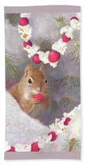 Beach Towel featuring the painting Cranberry Garlands Christmas Squirrel by Nancy Lee Moran