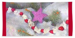 Beach Towel featuring the painting Cranberry Garlands Christmas Star In Orchid by Nancy Lee Moran