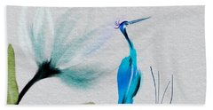 Crane And Flower Abstract Beach Towel