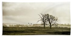 Beach Towel featuring the photograph Crane Hill by Torbjorn Swenelius