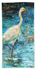 Beach Towel featuring the painting Crane Reflection by Linda Olsen