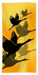 Cranes In Flight Beach Towel