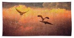 Cranes Lifting Into The Sky Beach Sheet