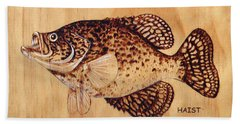 Beach Sheet featuring the pyrography Crappie by Ron Haist