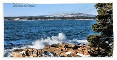 Beach Sheet featuring the photograph Crashing Acadia Waves 2 by Debbie Stahre
