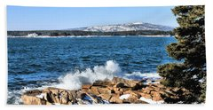 Beach Towel featuring the photograph Crashing Acadia Waves by Debbie Stahre