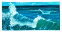 Beach Sheet featuring the painting Crashing Wave by Anastasiya Malakhova