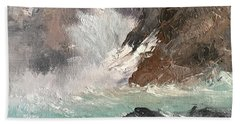 Crashing Waves Seascape Art Beach Towel by Michele Carter