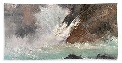 Crashing Waves Seascape Art Beach Sheet by Michele Carter