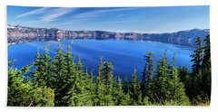 Beach Towel featuring the photograph Crater Lake Rim Reflections by Frank Wilson