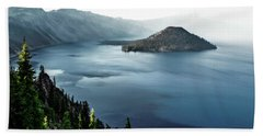 Crater Lake Under A Siege Beach Sheet by Eduard Moldoveanu