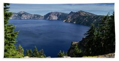 Beach Towel featuring the photograph Crater Lake View by Frank Wilson