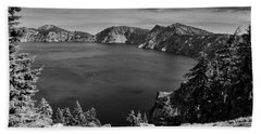 Beach Towel featuring the photograph Crater Lake View In Bw by Frank Wilson