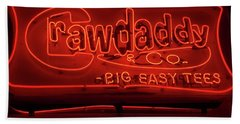 Beach Towel featuring the photograph Craw Daddy Neon Sign by Steven Spak