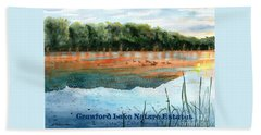 Beach Towel featuring the painting Crawford Lake Nature Estates by LeAnne Sowa