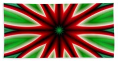 Crazy Christmas Flower Beach Towel