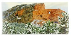 Crazy Horse Memorial In The Snow Beach Towel by Clarice Lakota