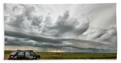 Crazy Shelf Cloud Near Ponteix Sk. Beach Sheet by Ryan Crouse
