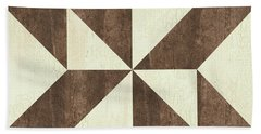 Beach Towel featuring the painting Cream And Brown Quilt by Debbie DeWitt