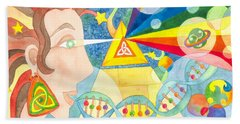 Beach Towel featuring the painting Creation Myth by Kristen Fox