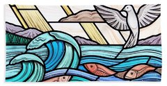 Creation Of The Sea And Sky Beach Sheet by Gilroy Stained Glass