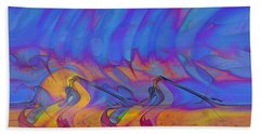 Beach Towel featuring the digital art Creative Motion by Linda Sannuti