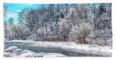 Credit River At Winter Beach Towel