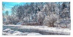 Beach Sheet featuring the digital art Credit River At Winter by Kai Saarto